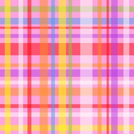 gingham pattern: Seamless plaid or gingham pattern, multicolor stripes over pink Illustration