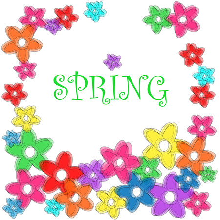 Fun floral frame with transparent flowers and Spring in text
