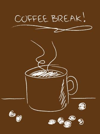 単純な描かれたマグカップと茶色の豆のコーヒー ブレーク コンセプト