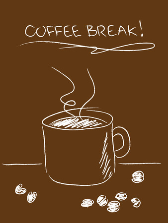 Coffee break concept with simple drawn mug and beans on brown Stock Illustratie