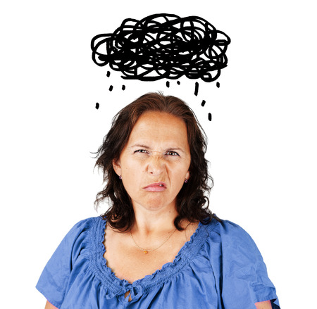Grumpy middle aged woman with dark cloud over head