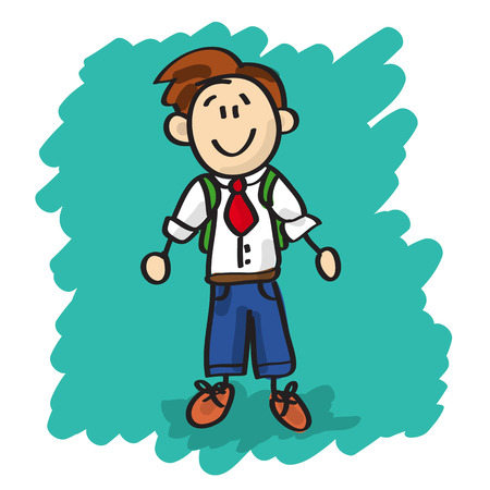 Funny and cute little boy with backpack and tie cartoon