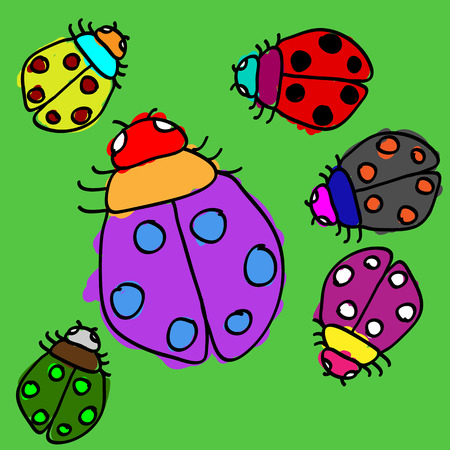 Child drawing and colorful coloring of ladybugs on grass