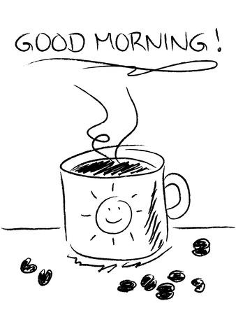 'S ochtends koffie concept met eenvoudige getekende mok en bonen, zwart en wit