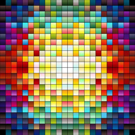 Carrés colorés, les pixels ou les carreaux de mosaïque, couleurs Gradiant