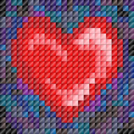 Metallic sheen mosaic tiles in heartshape, Valentines day or love Vector