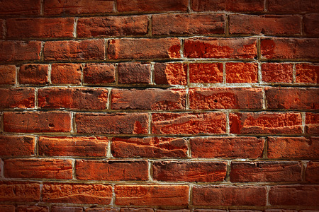 vignetting: HDR very old grungy red brick wall background, vignetting Stock Photo