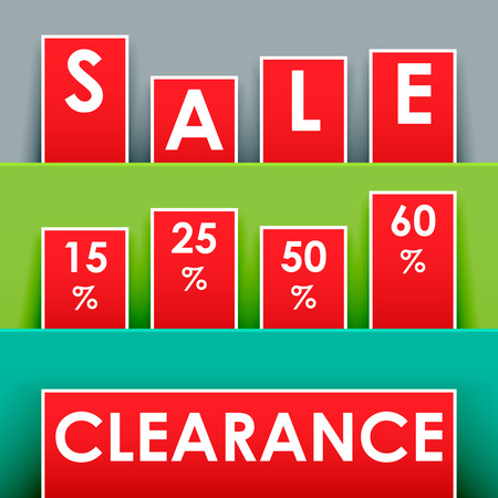 Sale signage for advertisement in red with shadows Vector