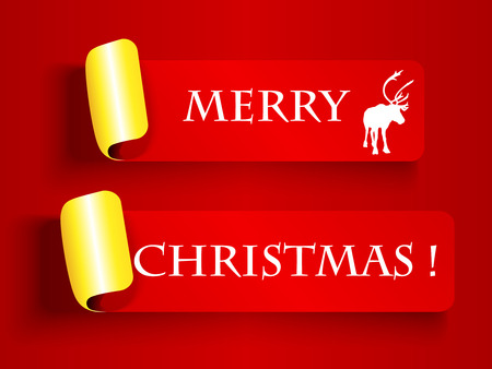 peeling: Merry Christmas wishes or card, red and gold peeling off label Illustration
