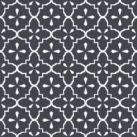 Seamless vintage doily pattern in dark charcoal grey over white