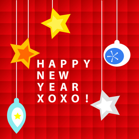 xoxo: Happy New Year wishes or card, with ornaments over red squares background Illustration