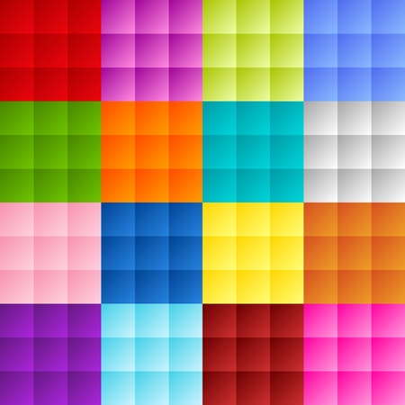 Patchwork of colorful squares or pixels in bright gradiant colors