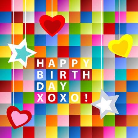 xoxo: Happy birthday card, with ornament over colorful squares background Illustration