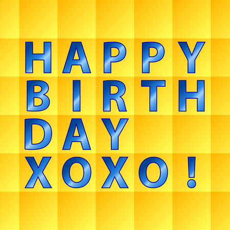 xoxo: Happy birthday card, over yellow squares background