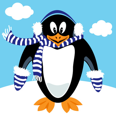 Funny penguin cartoon with winter ear muffs, scarf and mitains - flat