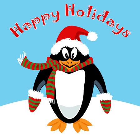 Funny penguin cartoon with Happy Holidays wish - card,flat