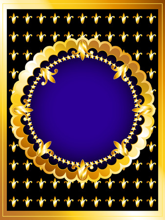 regal: Vintage posh gold frame card, royal blue and fleur-de-lys