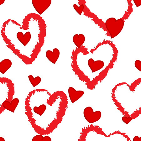 Fun seamless pattern with red little and grungy heart shapes over white Vector