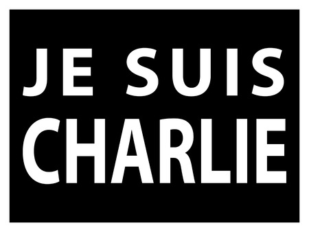 against: JE SUIS CHARLIE text over black, movement against terrorism Illustration