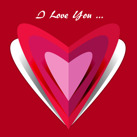 I love you card with folded paper hearts Ilustração
