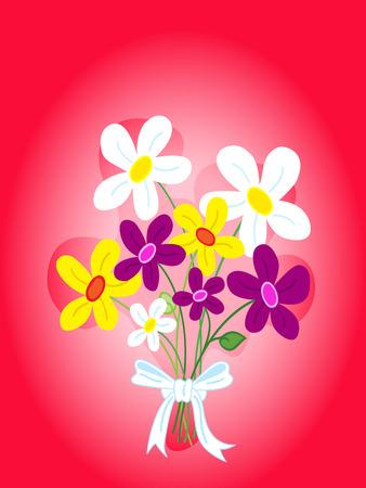 귀여운 꽃다발의 손으로 그린 데이지 꽃 카드