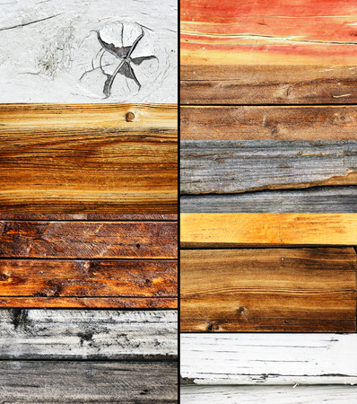 Wood collage, different colors and texture, nature background photo
