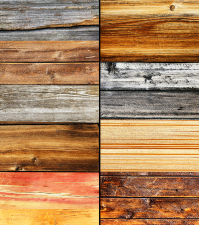 barn wood: Wood collage, different colors and texture, nature background Stock Photo