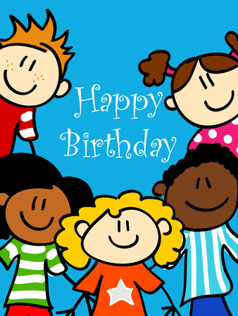 latina: Birthday card with cute kid cartoon characters looking at you Illustration