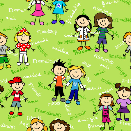 children holding hands: Seamless cute kid cartoon characters pattern with friendship related text in various languages