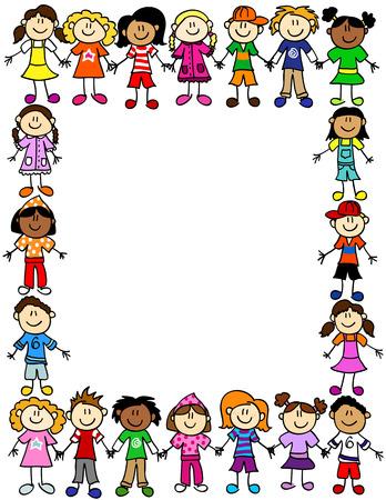 Rám nebo strana hranice roztomilé dítě kreslených postaviček se drží za ruce