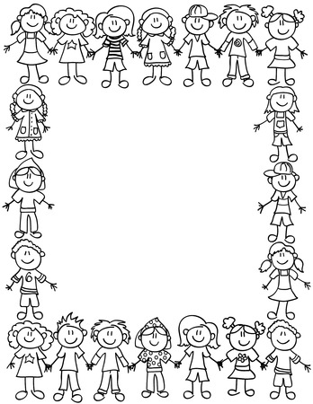 Frame or page border of cute kid cartoon characters holding hands - black outline Stock Illustratie