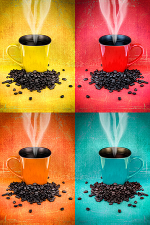 Collage of hdr colorful coffee mugs and coffee beans photo