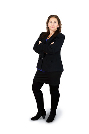 Full body shot of successful professional middle-aged woman on white Фото со стока