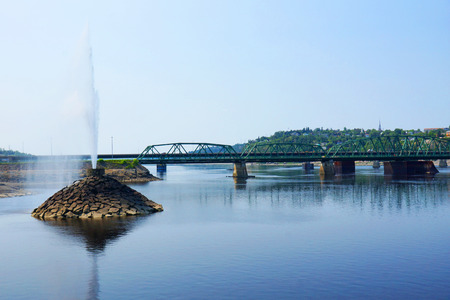 Water fountain in the Saguenay river, Quebec, Canada