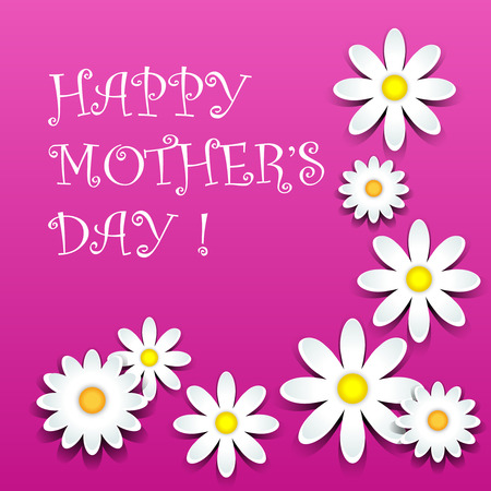 Happy mother day, white daisies over pink