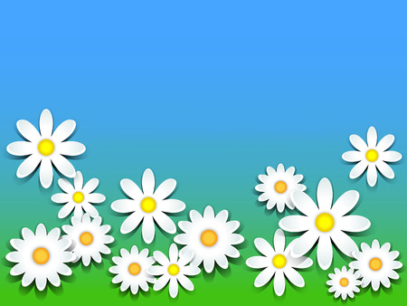3D daisies over green grass and blue sky background, copy space Stock fotó - 39249152