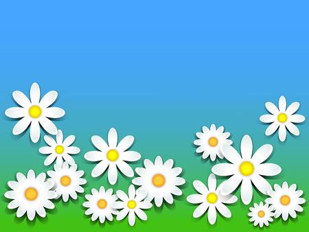 p�querette: Marguerites 3D sur l'herbe verte et de ciel bleu fond, copie espace