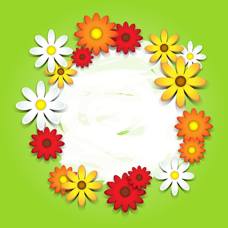 copy space: 3D colorful daisies over green card with copy space