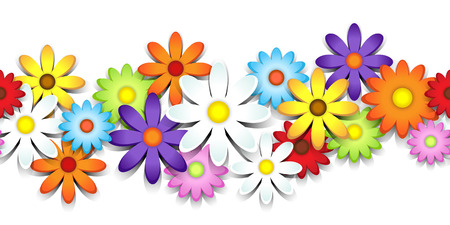 3D colorful daisy seamless border over white