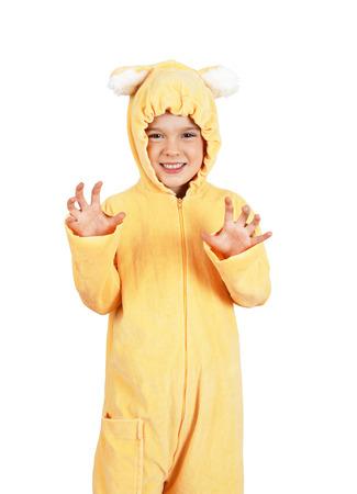 #39302449 - Cute little girl in teddy bear costume  sc 1 st  123RF.com & Cute Little Girl In Teddy Bear Costume Making Halloween Concept ...
