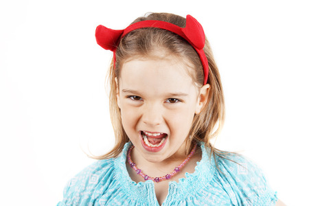 head gear: Cute little girl with devil horns head gear