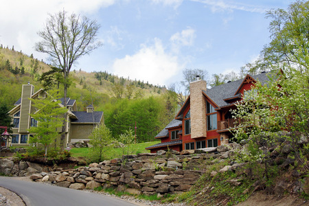 luxurious: Beautiful luxurious houses or cottages in the hills spring time