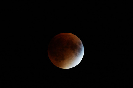 Red supermoon coinciding with total lunar eclipse