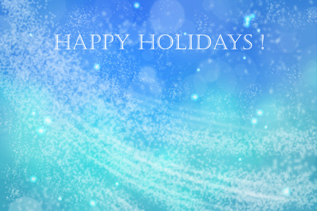 holiday card: Airy blue and green Happy Holidays card