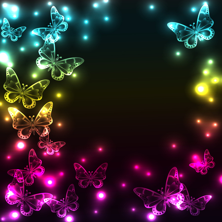 Colorful plasma butterfly background with light effects