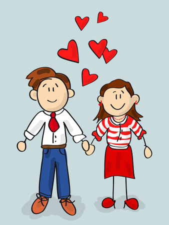 Happy couple cartoon Valentine card with little hearts