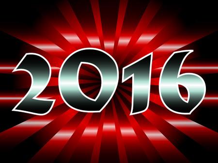 2016 new yearcelebration sign with metallic red sunburst over black gradient background