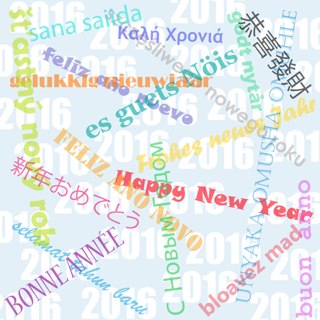 Happy new year wishes in multiple languages over 2016 background