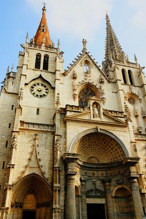 Facade of St Nizier church in Lyon, France