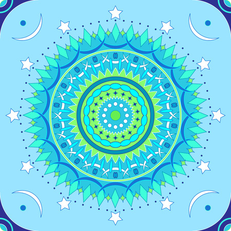 Seamless mandala pattern in blue and green colors Illusztráció